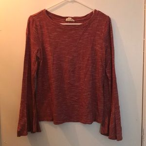 Burnt orange striped blouse with bell sleeves
